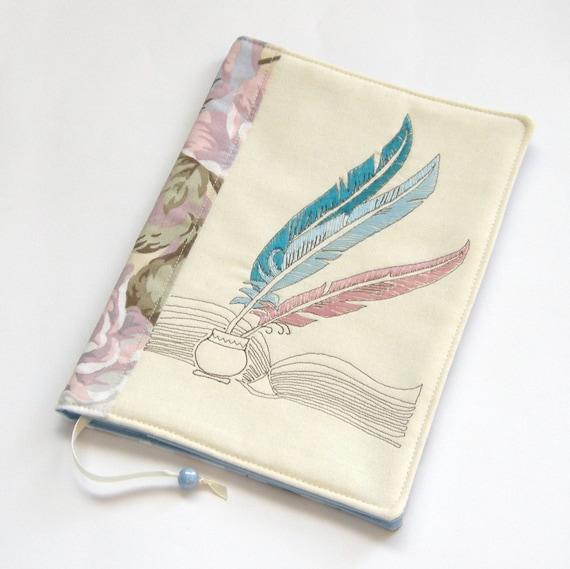 How To Make A Reusable Book Cover : Reusable fabric book cover travel journal handmade