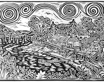 Art Cornwall, Lino-print Helford Passage
