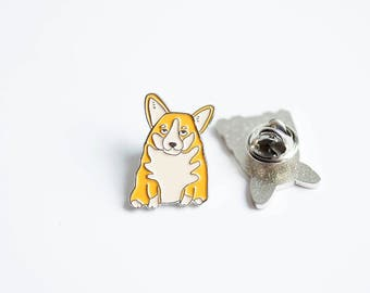 Dog enamel pin - enamel pin - corgi enamel pin -  corgi dog lapel pin - corgi dog badge - dog pin - corgi pin