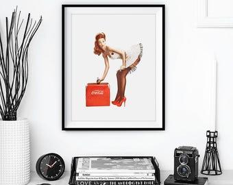 Pin Up Girl Print • Coca Cola Poster Pin Up Poster Vintage Decor Pin Up Art Pinup Girl Pinup Poster Retro Art Coke Cola Vintage Wall Art