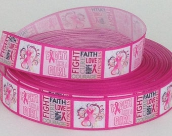 "Fight Like a Girl - Breast Cancer Awareness - 1"" Printed Grosgrain Ribbon"
