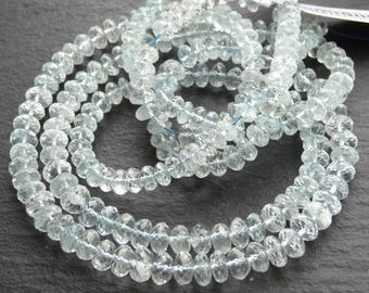 Cut Aquamarine rondelles, graduated 5.5mm - 7mm, 46cm string, 100 beads (3090)
