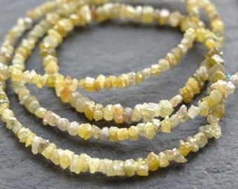 Yellow raw Diamond nuggets, graduated 2mm - 3mm, 39cm string, 290 beads, (2262)