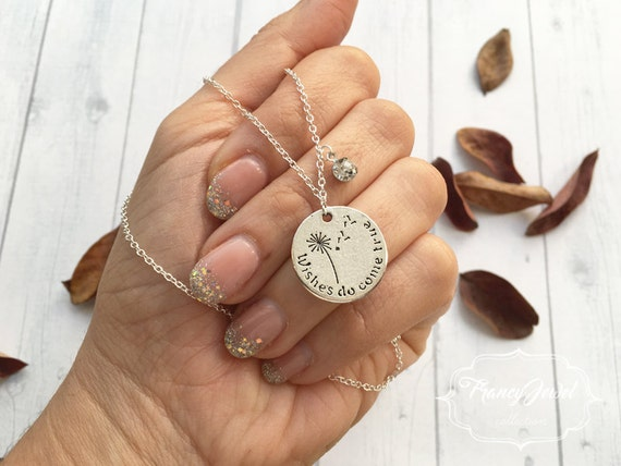 """Silver necklace, inspirational quote, crystal, """"Wishes do come true"""", graduation gift, motivational necklace, made in Italy, birthday gift"""