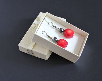 Gray red jewelry Woman red jewelry Dangle coral jewelry Romantic earrings gift Red coral dangle earrings Large gemstone earrings Gray stones