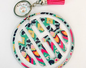 Monogram Key Chain // Acrylic Key Chain // Personalized Key Chain // Monogram Key Chain with Tassel // Key Chain