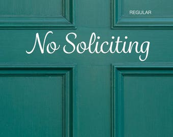 No Soliciting Decal Front Door / No Soliciting Vinyl / No Soliciting Sticker / No Soliciting Front Door Sign / No Soliciting Doorbell Sign