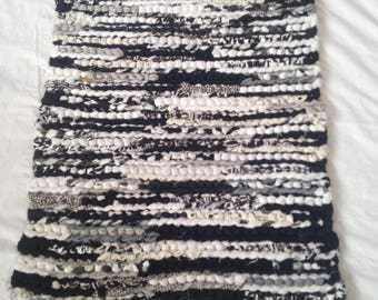 Black and White Crochet Rag Rug