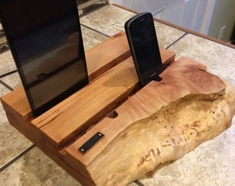 Wood cell phone tablet charging station
