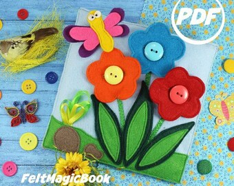 SALE! Flowers in a meadow   PDF   Quiet Book   Felt Busy Book   Toddler book   Activity Book   Fabric quiet book   Pattern