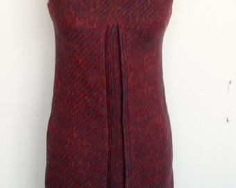 Vintage 60s red/teal stripe wool shift jumper dress