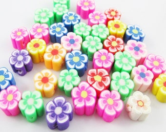20pcs Flower Bead Polymer Clay Mixed Colours 8x4mm Hole 1mm