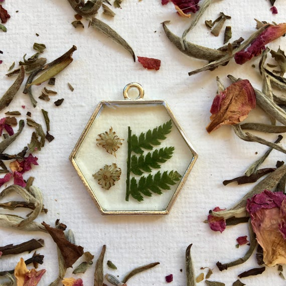 Fern and dried aster hexagon necklace