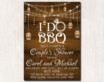 I do bbq invitation, BBQ Invitation, I do Barbecue, Engagement Party, Bridal Wedding, Couples bbq shower, Spring Summer Cookout, Rustic-1635