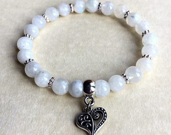 Moonstone Bracelet,Grade A Moonstone,Gemstone Bracelet,charm bracelet,reiki charged,crystal healing,spiritual jewellery,