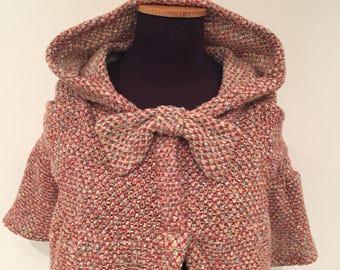 Multi tweed Mini hooded poncho