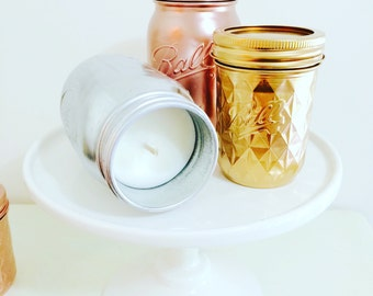 Metallic Mason Jar Soy Wax Candle 16 oz