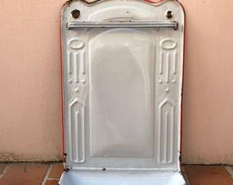 Vintage Enamelware white red Enamel Utensil enameled 30031731