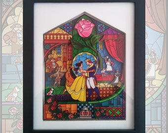 Beauty and the Beast Stained Glass 3D Shadowbox | Framed Glass Artwork | Christmas | Valentine's Day