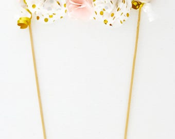 Pink and Gold Polka Dot Floral Cake Topper