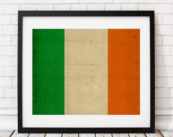 Ireland Flag Art, Ireland Flag Print, Irish Flag Poster, Flag Painting, Irish Poster, Dublin, Irish Gifts, Ireland Print, Ireland Painting