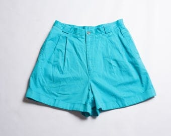 Vintage 80s Liz Claiborne Bright Turquoise High Waisted Shorts Pleated Shorts Pocket Button
