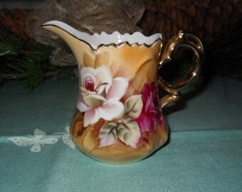 Lefton China Creamer Vintage Brown Heritage Creamer Gold Handle White Rose Dark Pink Rose