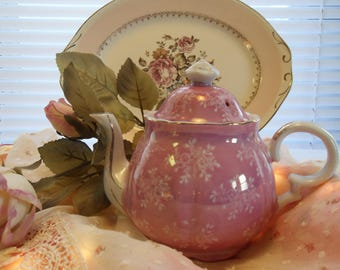 Sweet Pink Vintage Teapot Small White Flower Clusters