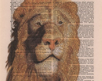 Lion Dictionary Art Print, Book Page Art, Print on Book Page, Book Page Illustration, Vintage Dictionary Art