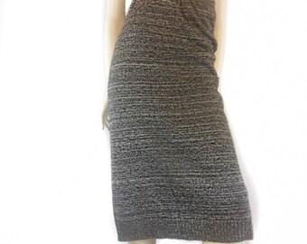 Small / Medium Vintage Gray Midi Sweater Skirt