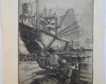 Wharfside Chicago Signed Etching by Kent Hagerman on Cream Wove Paper (ca.1950)