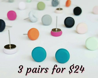 Studs , earrings , clay earrings , bright earrings, pastel earrings ,  clay studs , polymer clay studs , hypoallergenic studs , 3 pack