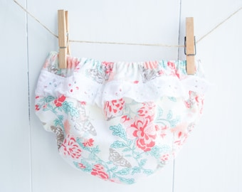 Ruffled Baby Bloomers-Coral and Turquoise-Flowers and Butterflies-White Eyelet Ruffle-Baby Girls Diaper Cover