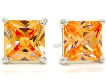 Orange citrine princess stud earrings, Citrine gemstones stud, Princess orange gems, Sterling silver earrings orange citrine gem, Gift box