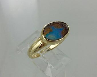 """Vintage Genuine """"Boulder Opal"""" 14k Ring Sz 6"""