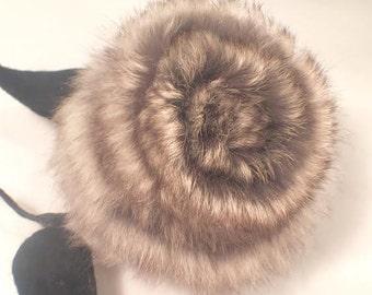 CHINCHILLA Fur Brooch Handrafted Flower Brooch Pin 1950's