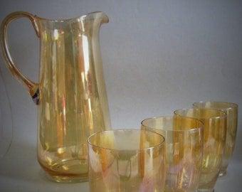 Vintage 50's Lustre Glass Jug and Tumbler Set - Orange /Gold Fine Glass Pitcher Drinking Set
