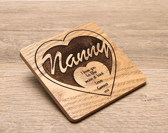 Personalised Laser Engraved Wooden Coaster, Perfect gift for Grandparents on Mothers Day