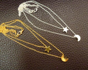 Minimalist necklace, dainty necklace, necklace, chain necklace, moon, Star, layered chains, pendants, charms, gold, silver