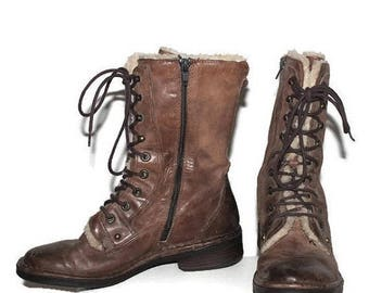 SALE Vintage Ankle Boots Leather Ankle Boots Brown Leather Boots  Faux Fur Boots Brown Leather Studded Riding mid calf tall US 6.5, Eur 37,