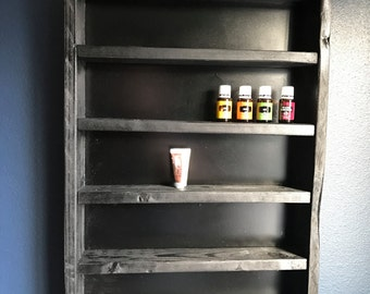 Essential oil rack with black stain