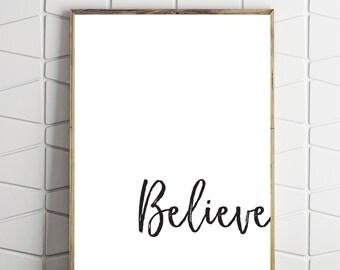 believe download, believe type art, brush stroke art, brush download art, believe digital art, believe wall art, believe wall decor