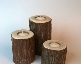 Rustic Wood Tea Light Candle Holder Set - Cedar, Tree Branch Candle Holders Set of 3 Heights- Rustic Wood Candle Holders