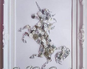 Handmade Button Bling Unicorn Picture Art