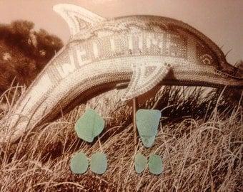 Earring Sea Glass, Pendant Light Aqua Sea Glass Pieces, Jewelry Supplies, Surf-Tumbled, Seafoam, Authentic Genuine Seaglass, Beach Glass