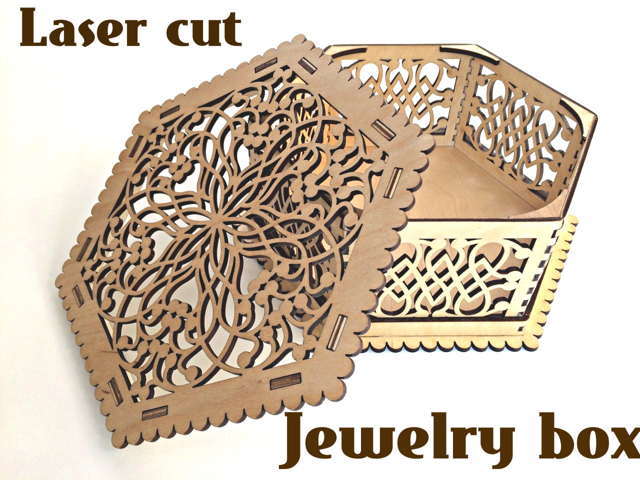 Wooden box for jewelry. Laser cut vector model. Instant download ...