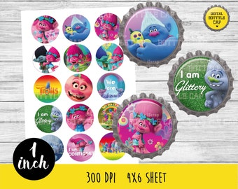 50% OFF SALE Trolls Bottlecap-Printable Image-Trolls collage sheet-Trolls 1 inch-Disney bottlecap-Disney 1 inch-COD120
