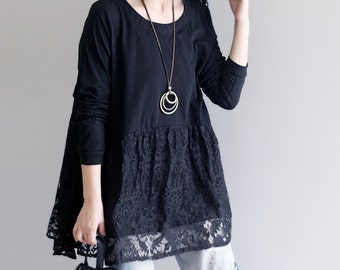 Spring tops women long t-shirt casual blouse round neck cotton shirt