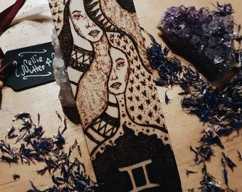 SALE 25% OFF Gemini Zodiac Wooden Bookmark, Handmade Bookmark, Pyrography, Woodburning, Zodiac Gift , Bookworm Gift , Astrology Inspired Art