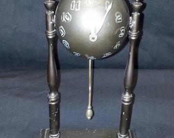 German Metal Novelty Globe Clock 30 hour Mechanical Key Wound
